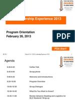 DLE 2013 Orientation Presentation 022513 FINAL