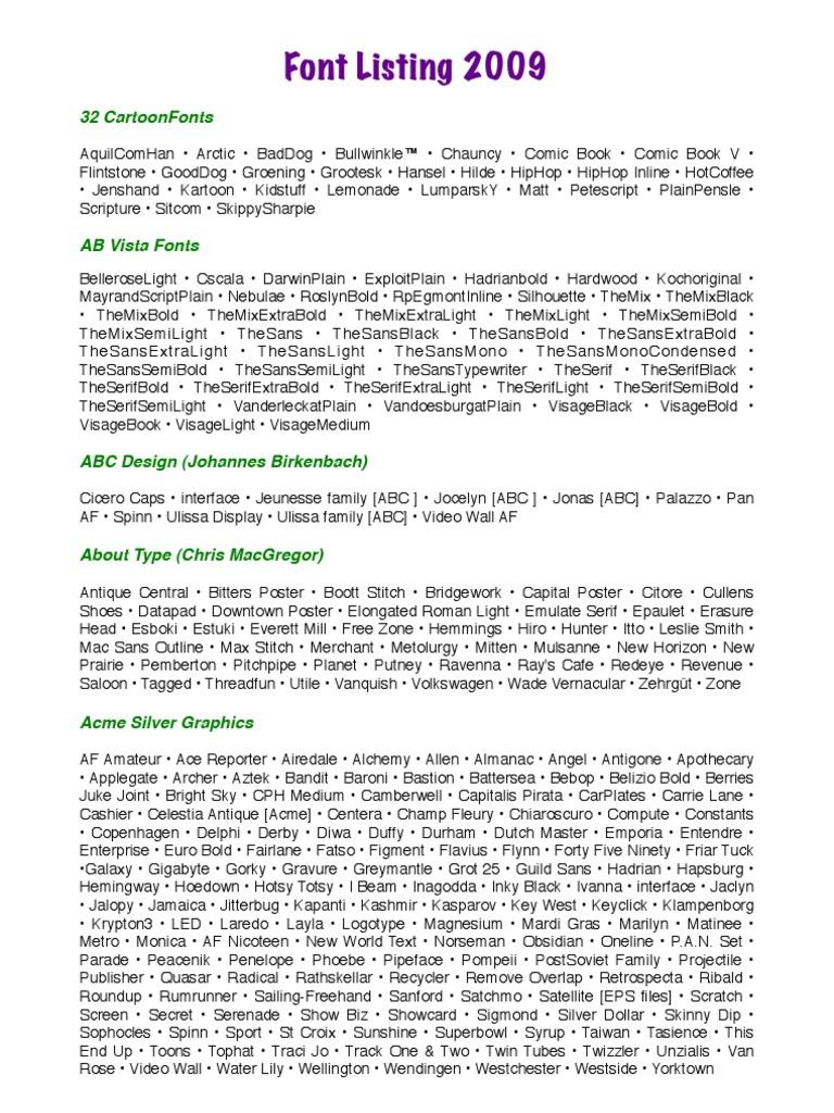 Font Listing 2009