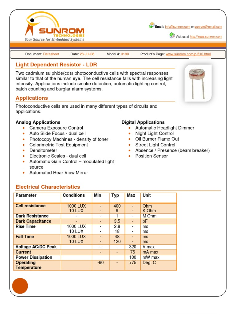 LDR Datasheet | Light | Electrical Resistance And Conductance