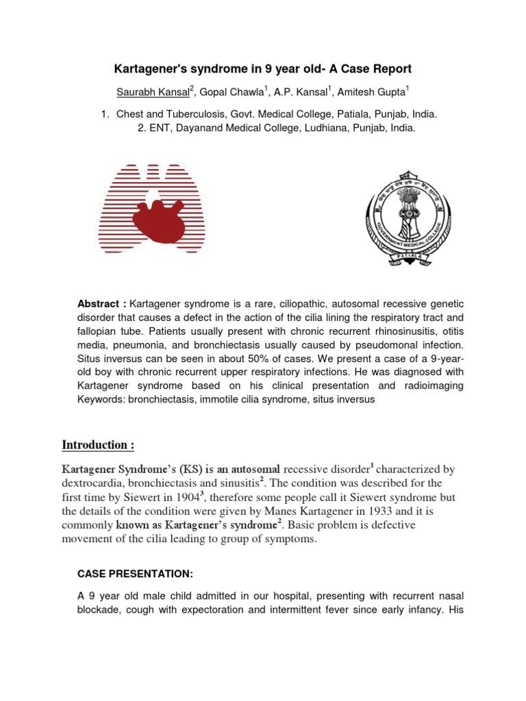 Kartagener Syndrome Lung Respiratory Diseases