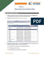 Create a Work Order via Back Office