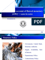 inflation is not an account of flawed Monetary Policy