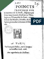 (1608) Jean Journe - Les Cinq Poincts de Controverse Sur Le Sacrifice de La Messe
