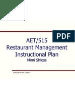 restaurant management course instructional plan final