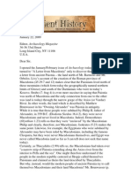 Professor's Stephen G. Miller Letter to Archaeology Magazine