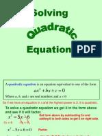 Quadratic Equations  Quadratic Equations