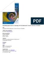 Full bibliographic data for Cambridge IGCSE Mathematics Teacher's Resource CD-ROM.docx