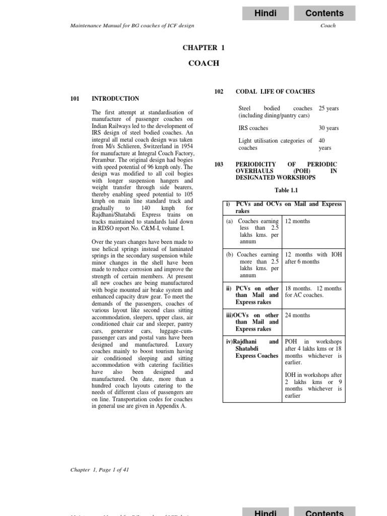 Indian Railways Coach Maintenance Manual for BG Coaches