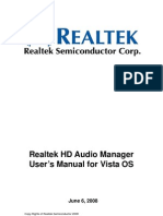 Realtek HDA Audio User Manual Vista