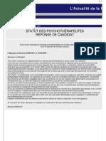 20070419 Code Déontologie Psychothérapeutes Réponse Nicolas Sarkozy Candidat présidentiel