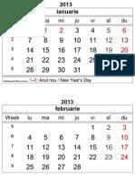 Year 2013 Calendar – Romania
