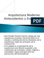 Arquitectura Moderna. Antecedentes y Evolucion