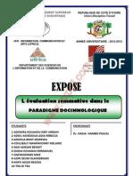 Evaluation Sommative Dans Le Paradigme Docimologique
