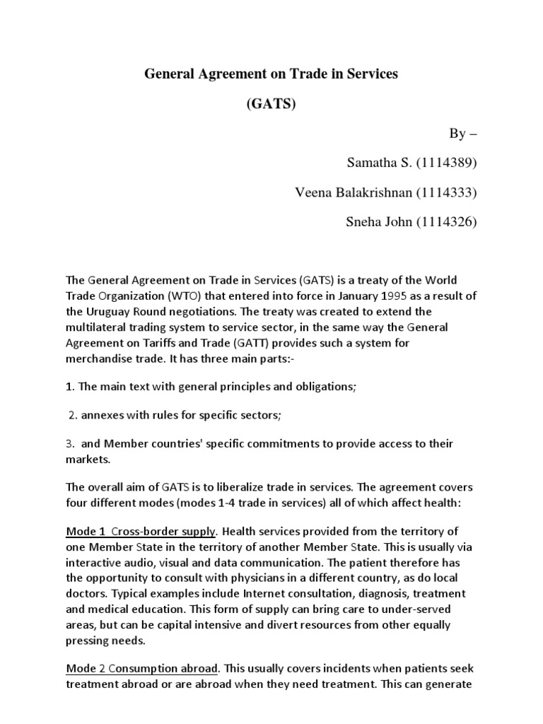 General Agreement On Trade In Services General Agreement On Trade