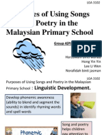 Purpose of Using Songs and Poetry (Linguistic Development)