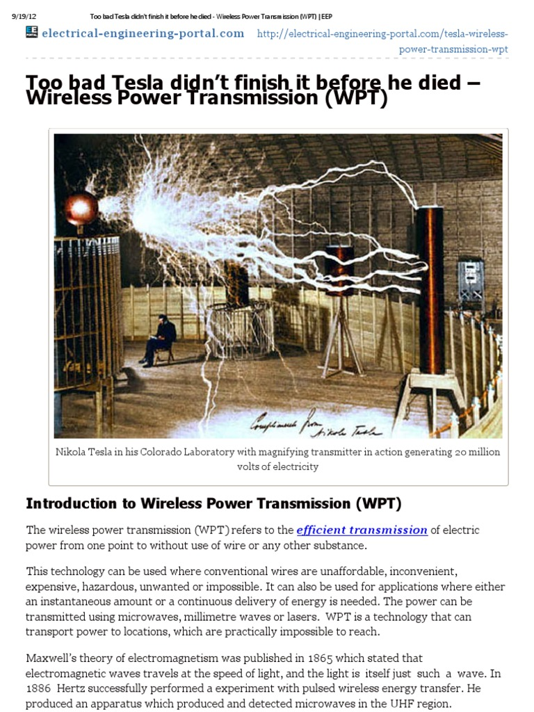 Too Bad Tesla Didn't Finish It Before He Died - Wireless
