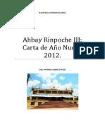 Ahbay Rinpoche III Feliz Año 2012.