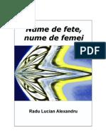 Nume de Fete - Nume de Femei - Radu Lucian Alexandru