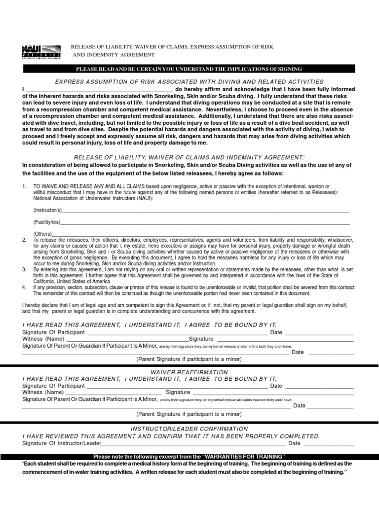 NAUI Waiver and Release Form Scuba Diving – Release of Liability Agreement