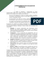 Manual de procedimento de avaliação de proposta