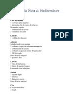 Cardápio da Dieta do Mediterrâneo