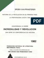 Incredulidad y Revolución - Guillaume Groen van Prinsterer