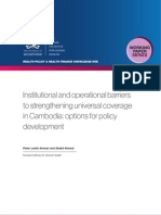 Institutional and operational barriers to strengthening universal coverage in Cambodia (WP18)