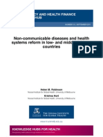Non-communicable diseases and health systems reform in low and middle-income countries (WP13)