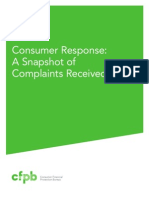CFPB Shapshot Complaints Received