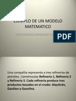 Ejemplo de Un Modelo Matematico