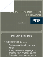 Paraphrasing From Research