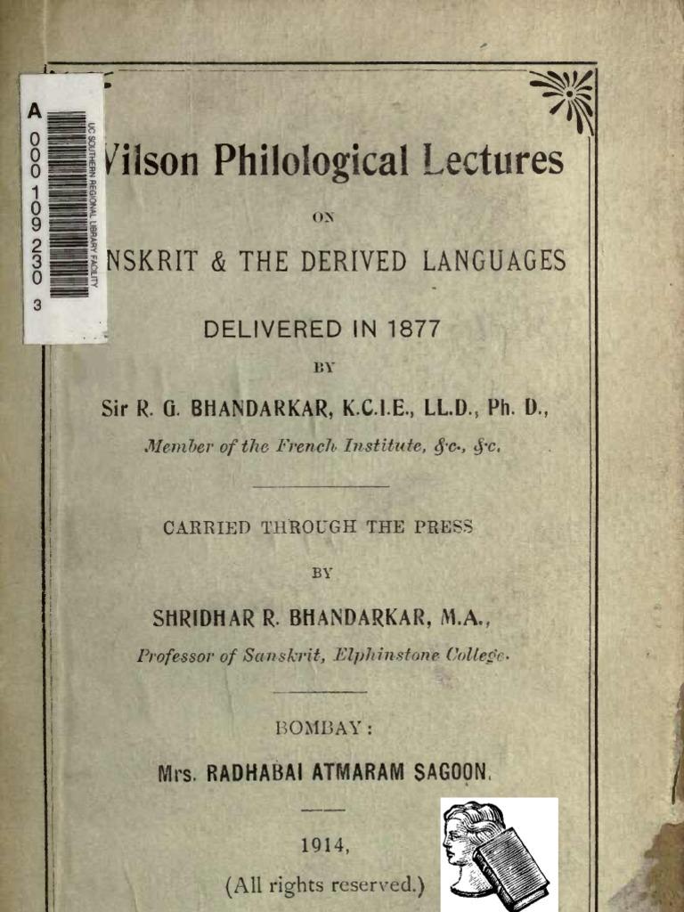 Bhandarkar lectures1914 | sanskrit | pali.