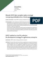 Metoda SWOT jako narzędzie wyboru strategii rozwojowej przedsiębiorstwa z branży agrobiznesu