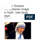 Mother Teresa's Humanitarian Image a 'Myth', New Study Says