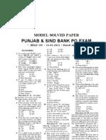 Punjab & Sind Bank PO 2011 Question Paper