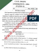 IAS Mains Mathematics 2004 Paper 2
