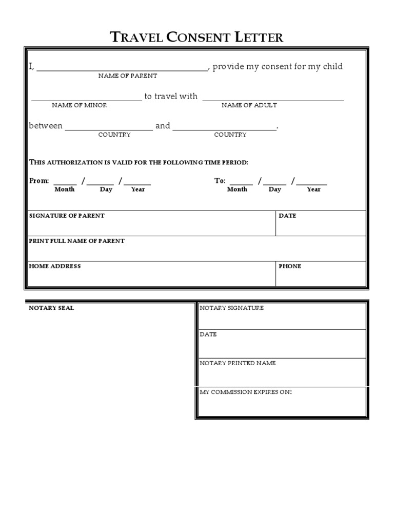 Travel Consent Letter Blank  Blank Consent Form