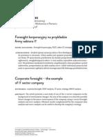 Foresight korporacyjny na przykładzie fi rmy sektora IT