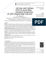 The Effect of Type and Volume Fraction (VF) of Steel Fiber on the Mechanical Properties SCCf