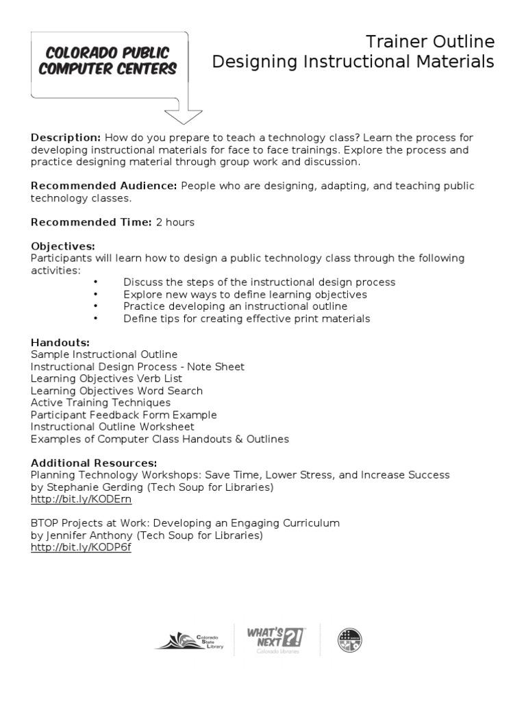 Trainer Outline Designing Instructional Materials Instructional Design Design