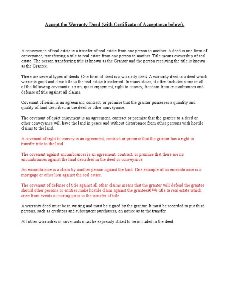 Accept Warranty Deed (1) | Covenant (Law) | Deed