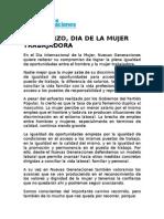 """Manifiesto de nuevas Generaciones por el Día Internacional de la Mujer """"8 DE MARZO, DIA DE LA MUJER TRABAJADORA"""""""