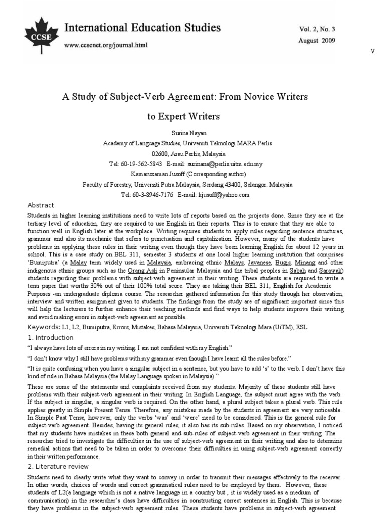 A Study Of Subject Verb Agreement Verb Second Language