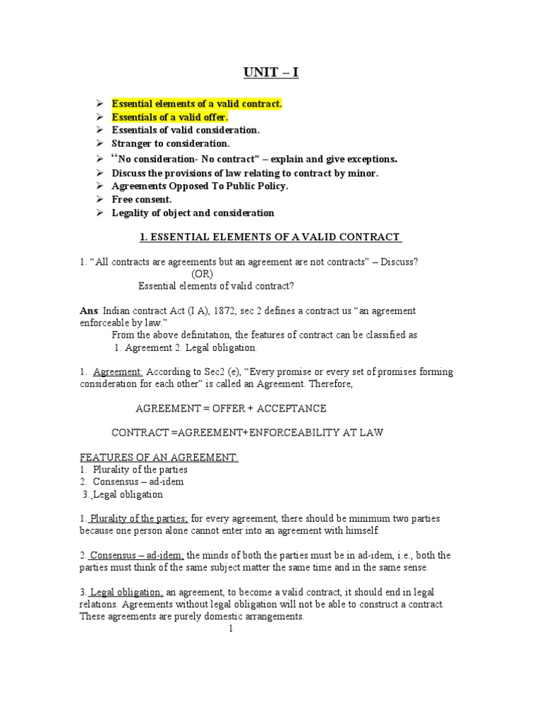 explain the essential elements of a valid contract