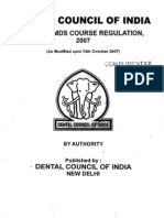 Revised MDS Course Regulations 2007