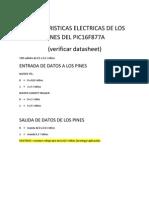 Caracteristicas Electricas de Los Pines Del Pic16f877a