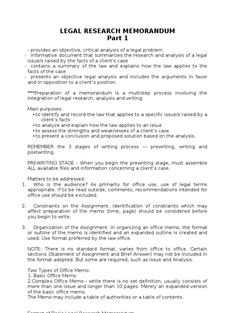Legal Research Memorandum | Memorandum | Rule Of Law