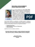 INVITACIÓN A MISA Y ACTO DE HOMENAJE CONCEJAJA JUANA QUISPE APAZA