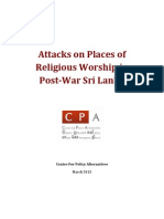 Attacks on Places of Religious Worship in Post–War Sri Lanka