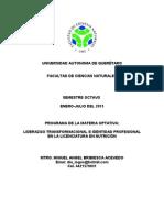 Programa Materia Liderazgo Transformacional e Identidad Profesional Ciencias Naturales Uaq